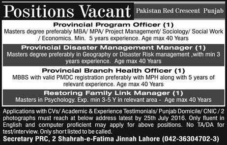 Pakistan Red Crescent Punjab Jobs
