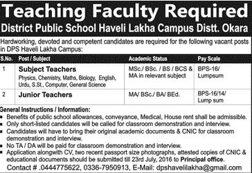 Disctrict Public School Haveli Lakha Campus District Okara Jobs