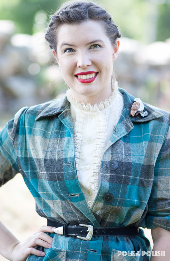 Teal and grey plaid Pendleton 49er style jacket paired with a cream lace-edged 1960s blouse