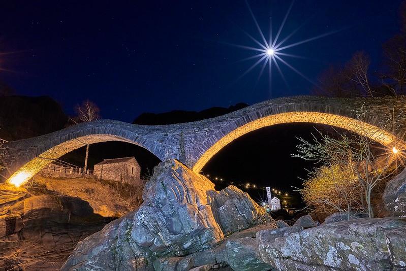 Ponte dei Salti in a full moon night - Lavertezzo