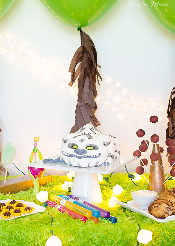 carved, 3D party cake and other disney themed party foods