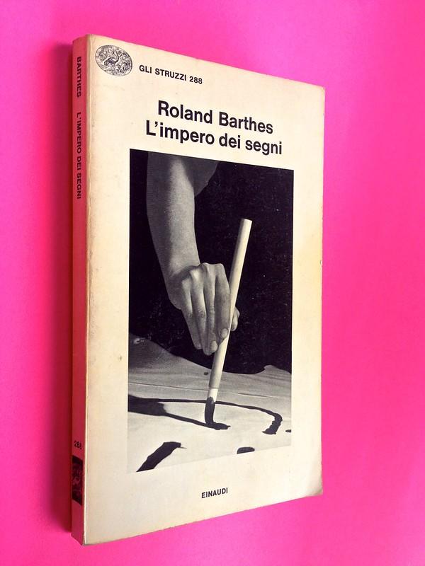 Roland Barthes, L'impero dei segni. Einaudi 1984. Dorso e copertina (part.), 1