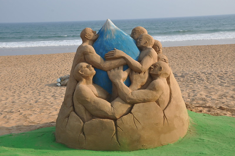 World Water Day on Golden Sea Beach Puri, Odisha sandart by Sri Manas Kumar Sahoo