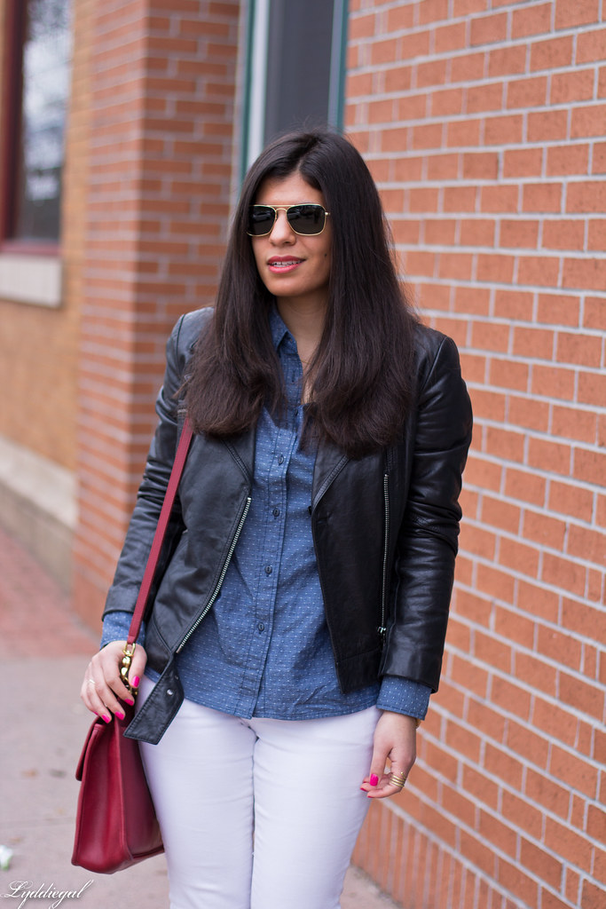 chambray shirt, white jeans, black leather jacket-4.jpg