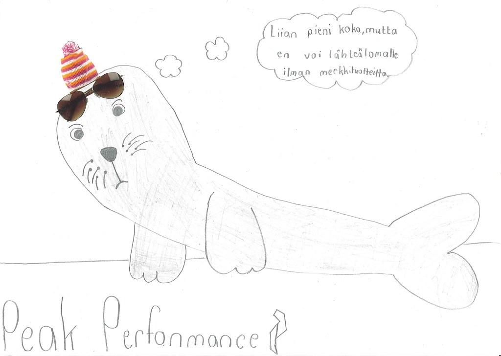 Peak Performance vastamainostaideteos, 4.lk työpaja Kortepohjan koulussa keväällä 2015