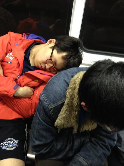 Asleep on the train