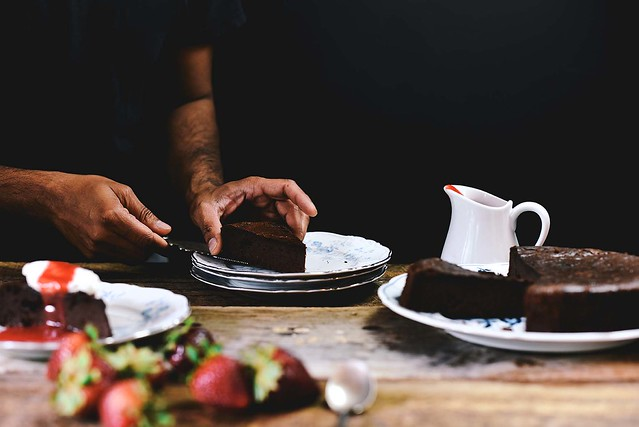 Flourless Chocolate Cake with Orange Blossom Water and Strawberry Champagne Sauce | A Brown Table