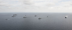 U.S. and Republic of Singapore Navy ships steam in formation at the conclusion of the at-sea phase of exercise CARAT. (U.S. Navy/MC2 Will Gaskill)