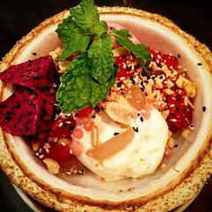 Beetroot and yoghurt ice cream toasted peanuts sesame seeds white sticky rice fresh coconut