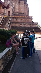 Varee EP students interviewing tourists in Chiangmai