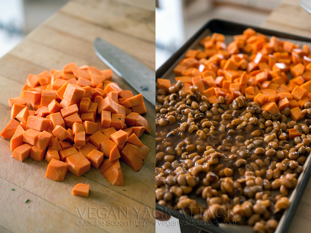 Roasted Sweet Potatoes and Black-eyed Peas