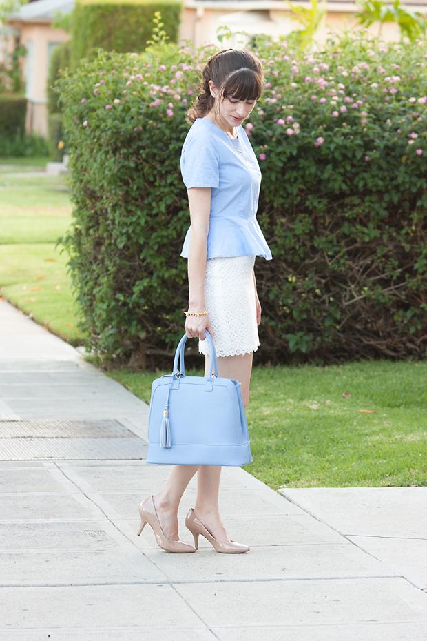 Chambray Peplum Crop Top, Gap Crop Top, Lace Skirt