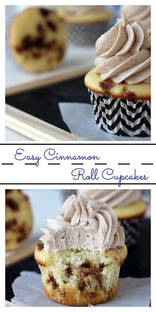 Easy Cinnamon Roll Cupcakes. All your favorite cinnamon roll flavors rolled up into a cupcake! A vanilla cupcake with a brown sugar streusel and a brown sugar cinnamon frosting.
