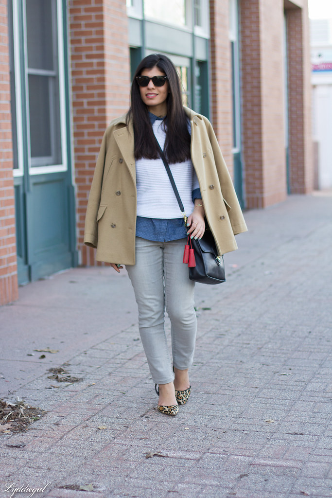 white sweater, polka dot chambray, camel coat.jpg