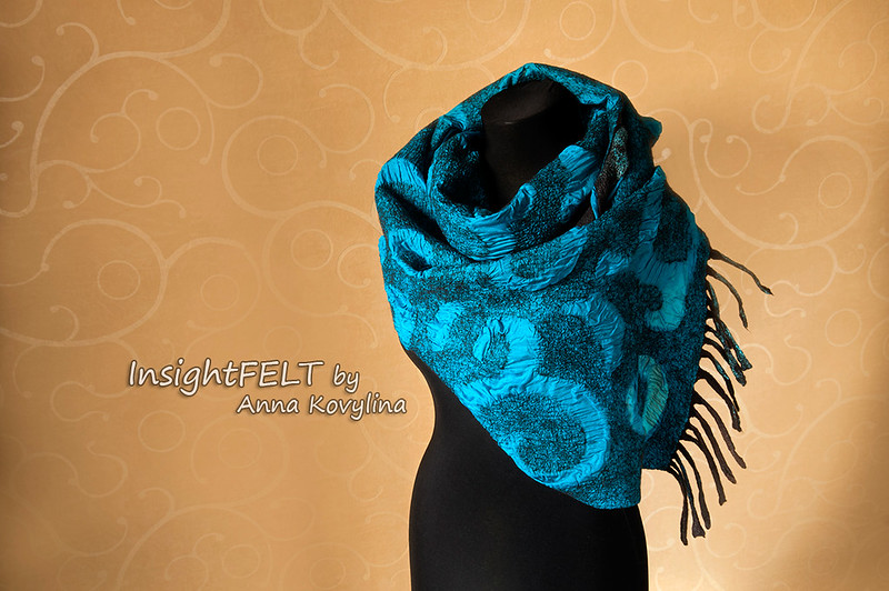 "Nuno felted scarf, stole, made of silk and wool ""Chocolate and Turquoise"""