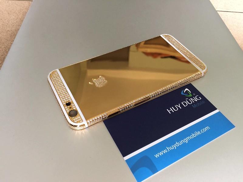 Thay vỏ mạ vàng titan cẩn đá iPhone 6, 6+