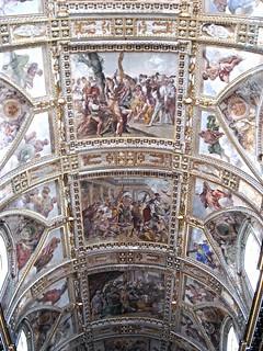 """Scenes of the martyrdom of the Apostles Bartholomew (high), Matthew and John the Evangelist"" - frescoes (1638-46) by Giovanni Lanfranco (Parma 1582-Rome 1647) - Santi Apostoli Church - Naples"