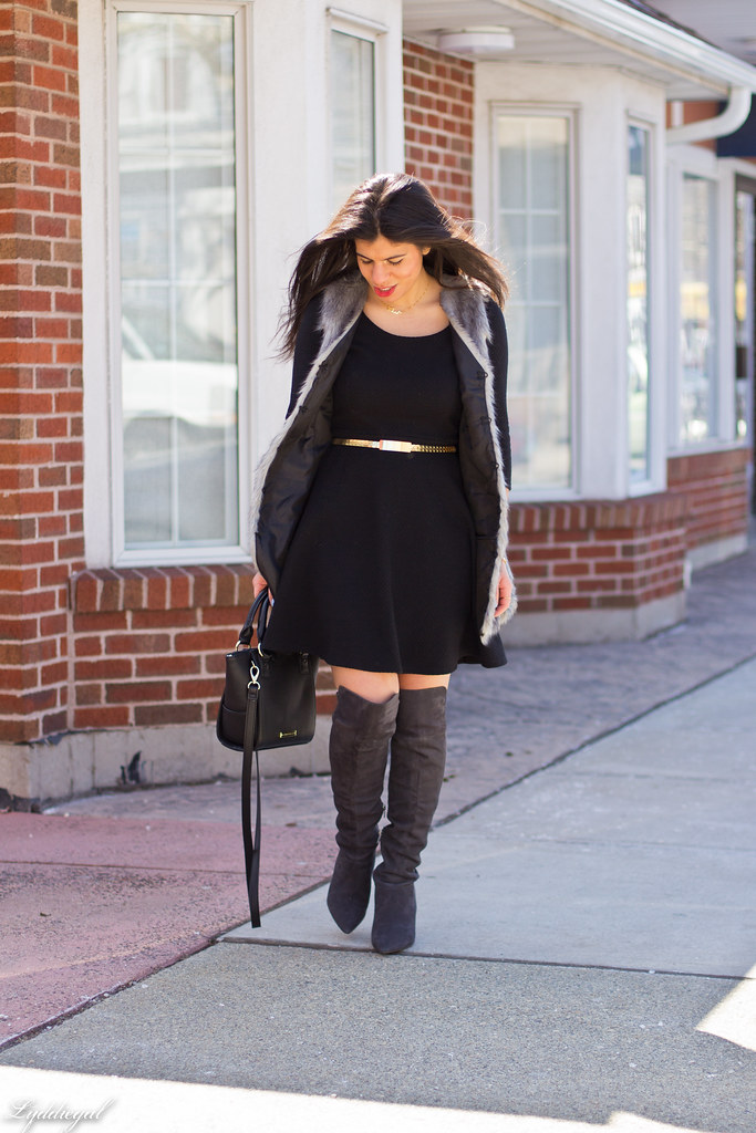 little black dress, grey fur vest, over the knee boots-3.jpg