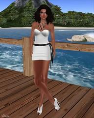 Blueberry - Vosqi Bustier Dress White