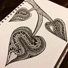 A leaf love doodle thing going on tonight! #leaf #lovehearts #doodle #doodling #draw #drawing #dailyart #dailydraw #art #design #illustration #pen #ink #zentangle