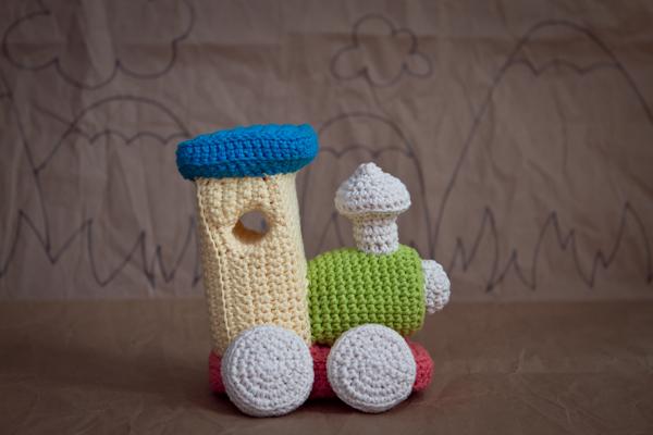 crochet train plushie