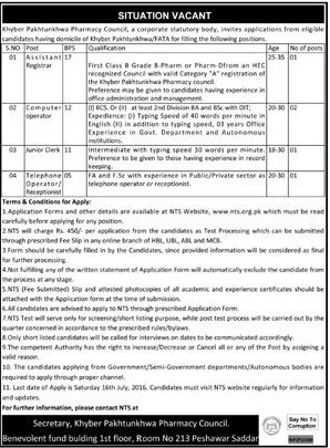 Khyber Pahtunkhwa Pharmacy Council Jobs