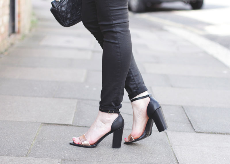 Wallis black wax denim jeans and sandals, Bumpkin Betty