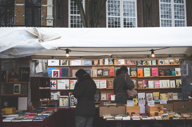 Book shopping at the Spui market.