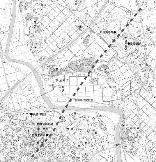 東海道駅路の推定路線と遺跡の位置
