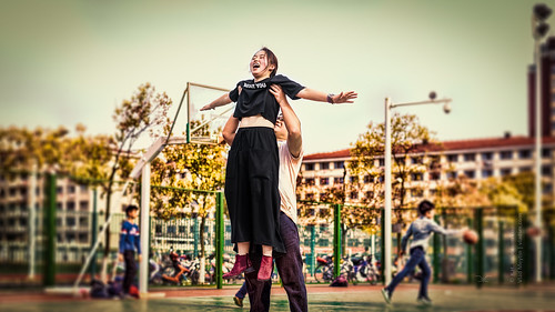 Girl in the basketball court (Nantong, China) 04-2015