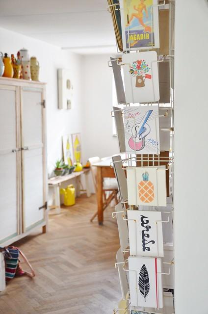 vintage postcard rack