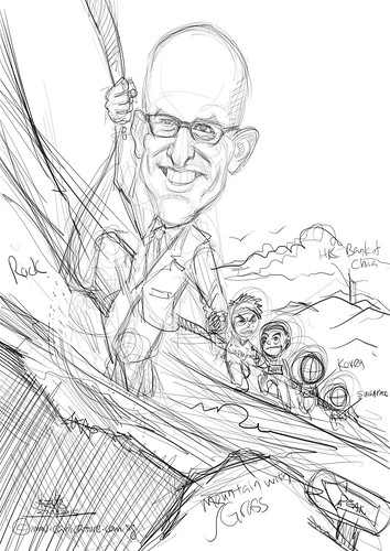 Mountain climbing leader digital caricature1