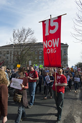 Strike and protest march for a $15/hour minimum wage at the University of Minnesota
