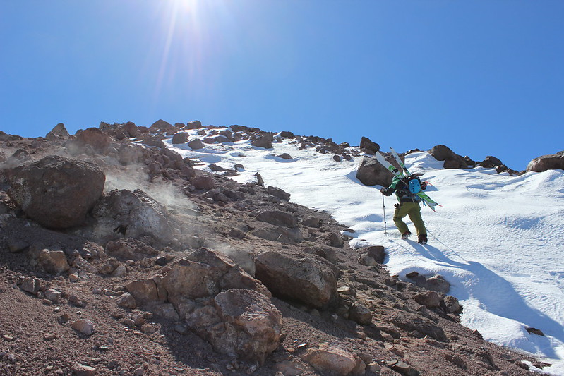 Isaac Silverman climbing Lassen Peak