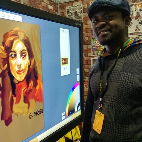 Edward and friend. The awesomely good Mr Edward @Paazola Ofosu on #Promethean IWB and #ArtRage a t #LSCC