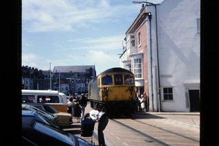 Diesel Loco (class 33?) on Weymouth Harbour Tramway, August 1985