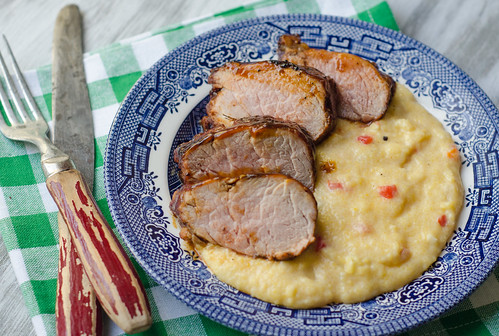 BBQ Glazed Pork Tenderloin over Pimento Cheese Grits
