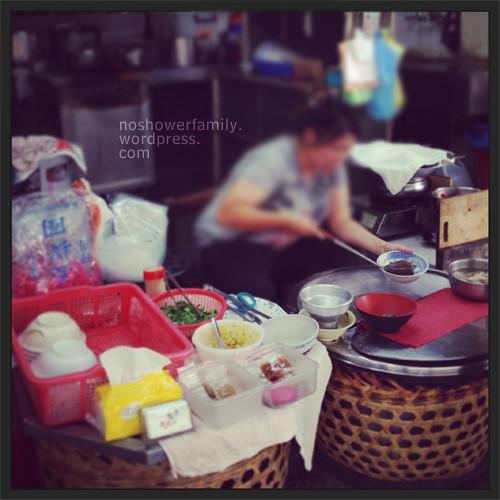 pig blood soup vendor in traditional market
