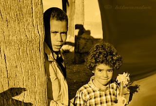 Tunisia, Sahara  oasis of Chebika, boy & little girl