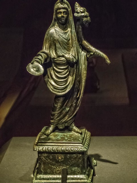 Bronze and Silver Statuette of a Genius from Pompeii Roman 1st century BCE
