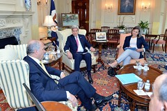 U.S. Secretary of State John Kerry, with Assistant Secretary of State for European and Eurasian Affairs Toria Nuland and other senior advisers, meets with French Foreign Minister Laurent Fabius in his Outer Office at the U.S. Department of State in Washington, D.C., on April 19, 2015. [State Department photo/ Public Domain]