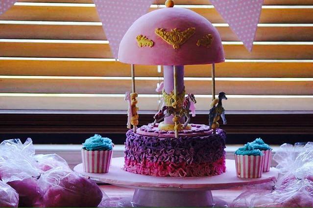 Carousel Baby Shower Cake by Tara's Custom Cakes