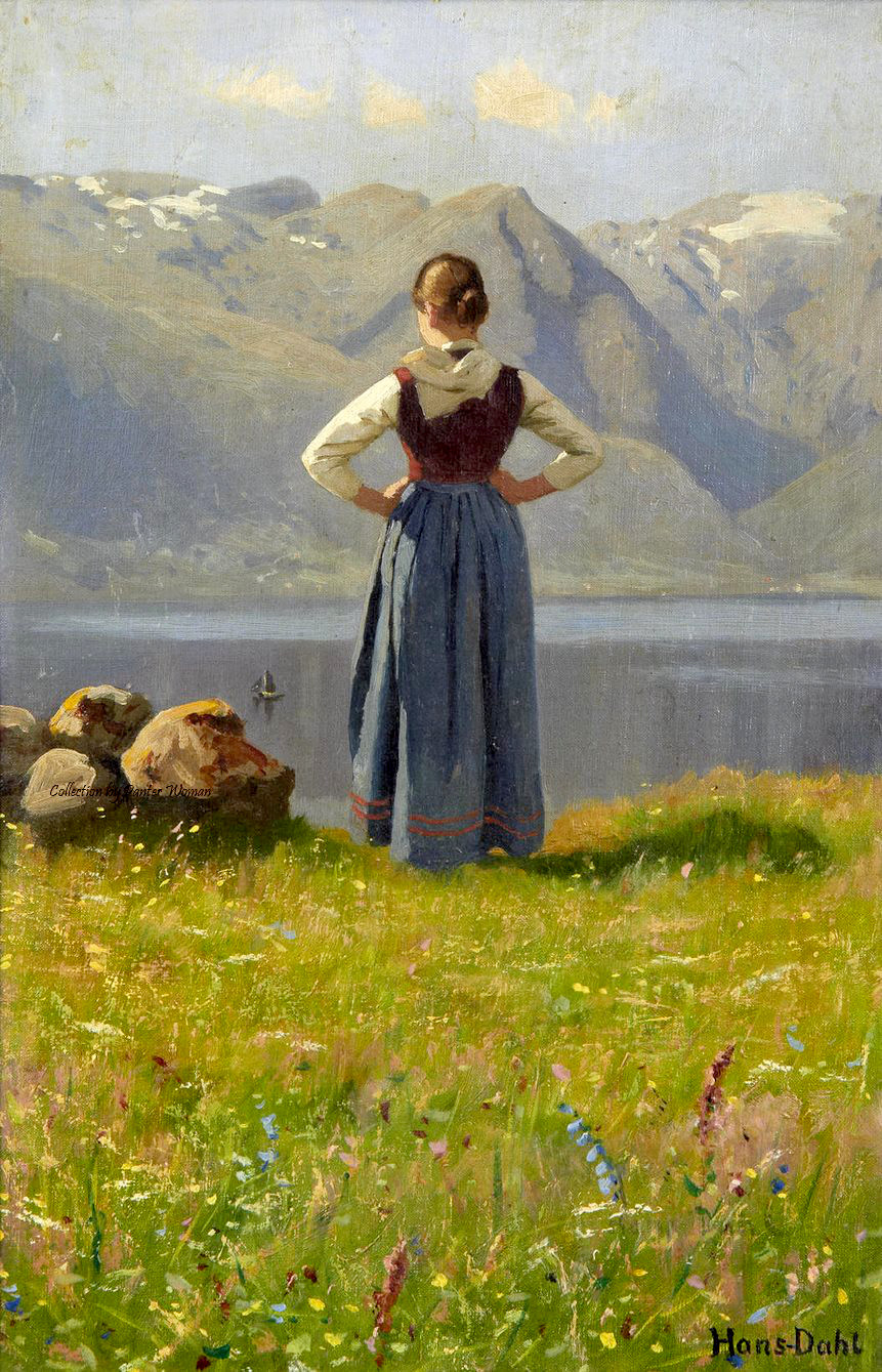 Girl before a Fjord by Hans Dahl