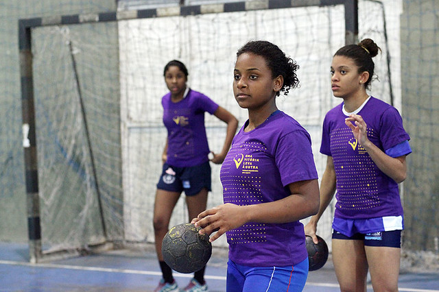 From 3 to 5 p.m., she practices handball. Once a week she starts her training an hour late so she can join 20 other girl athletes to participate in the 'One Win Leads to Another' workshops. The workshops are part of a joint programme by UN Women and the International Olympic Committee in partnership with the organization Women Win.