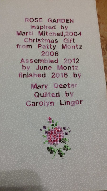 Label for June's quilt