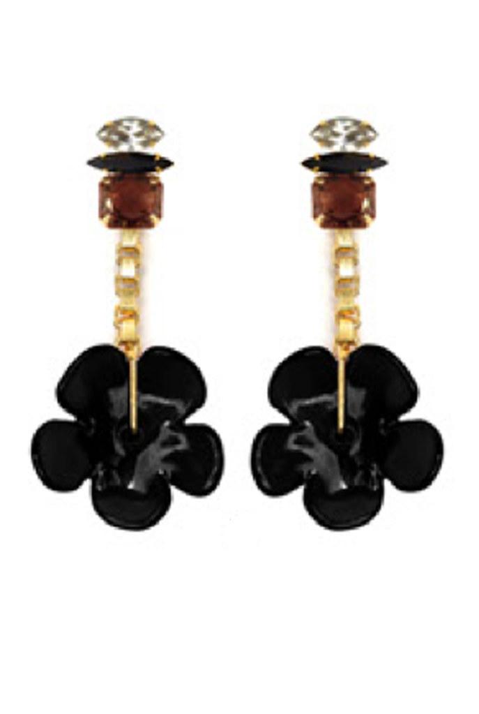 Black Retro Flower Earrings