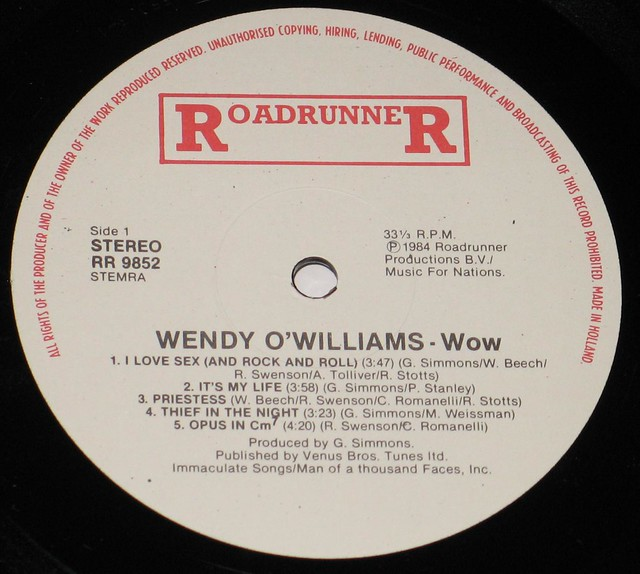"Wendy O'Williams - WOW 12"" Vinyl LP"