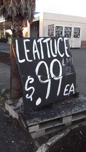 Vegetable store sign for lettuce
