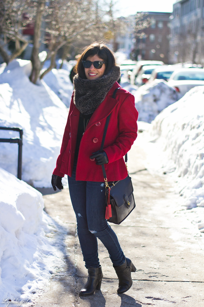red peacoat, furry cowl, distressed jeans-2.jpg
