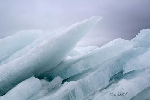 blue sea snow ice frozen